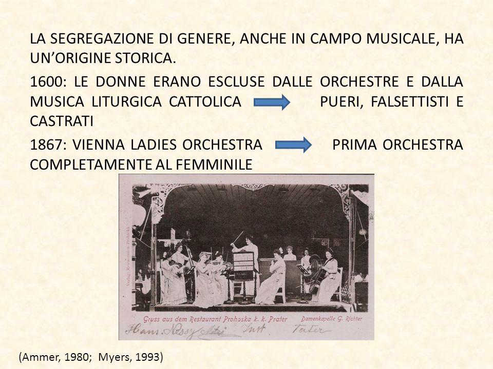 LA SEGREGAZIONE DI GENERE, ANCHE IN CAMPO MUSICALE, HA UN'ORIGINE STORICA. 1600: LE DONNE ERANO ESCLUSE DALLE ORCHESTRE E DALLA MUSICA LITURGICA CATTOLICA PUERI, FALSETTISTI E CASTRATI 1867: VIENNA LADIES ORCHESTRA PRIMA ORCHESTRA COMPLETAMENTE AL FEMMINILE