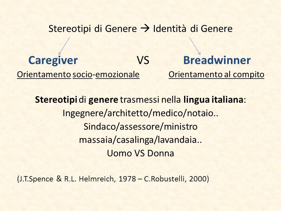 Stereotipi di Genere  Identità di Genere