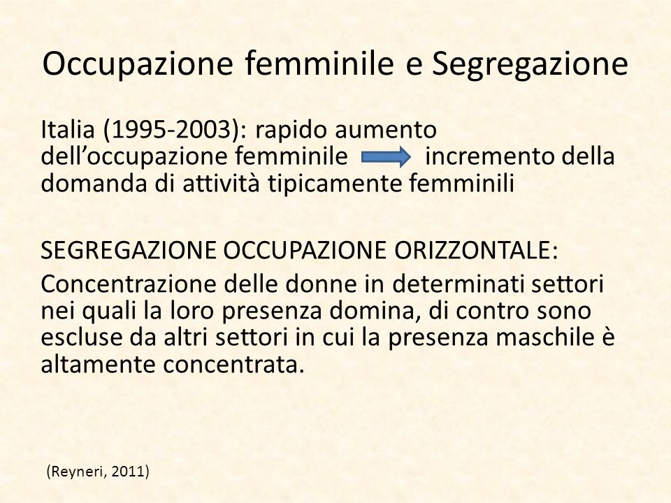 Occupazione femminile e Segregazione