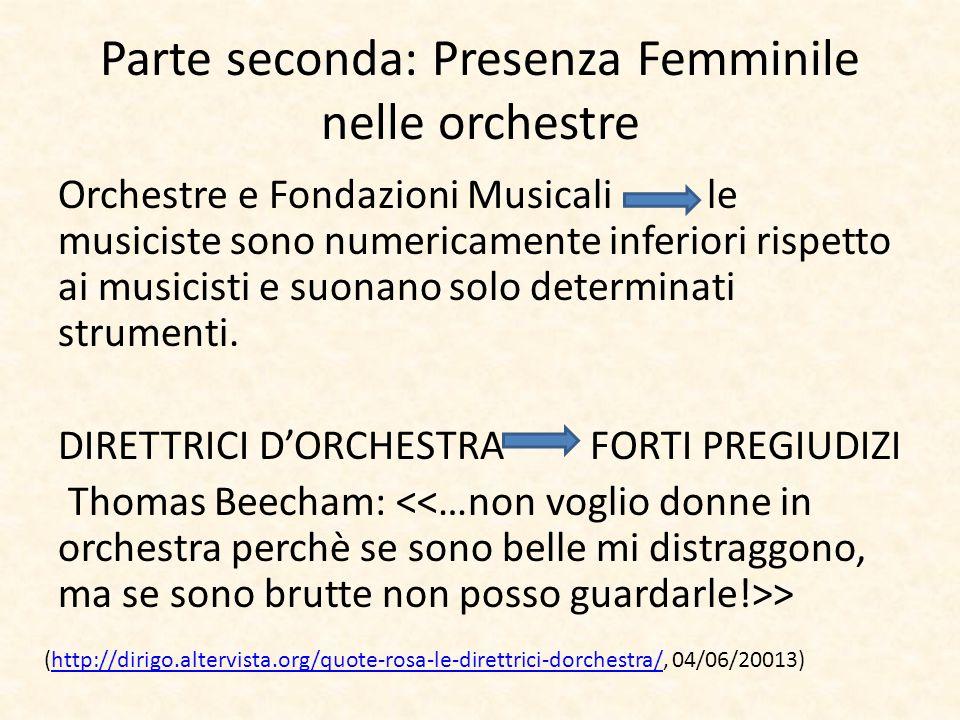 Parte seconda: Presenza Femminile nelle orchestre