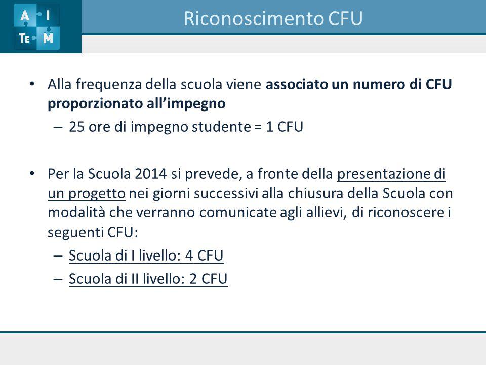 Riconoscimento CFU Alla frequenza della scuola viene associato un numero di CFU proporzionato all'impegno.