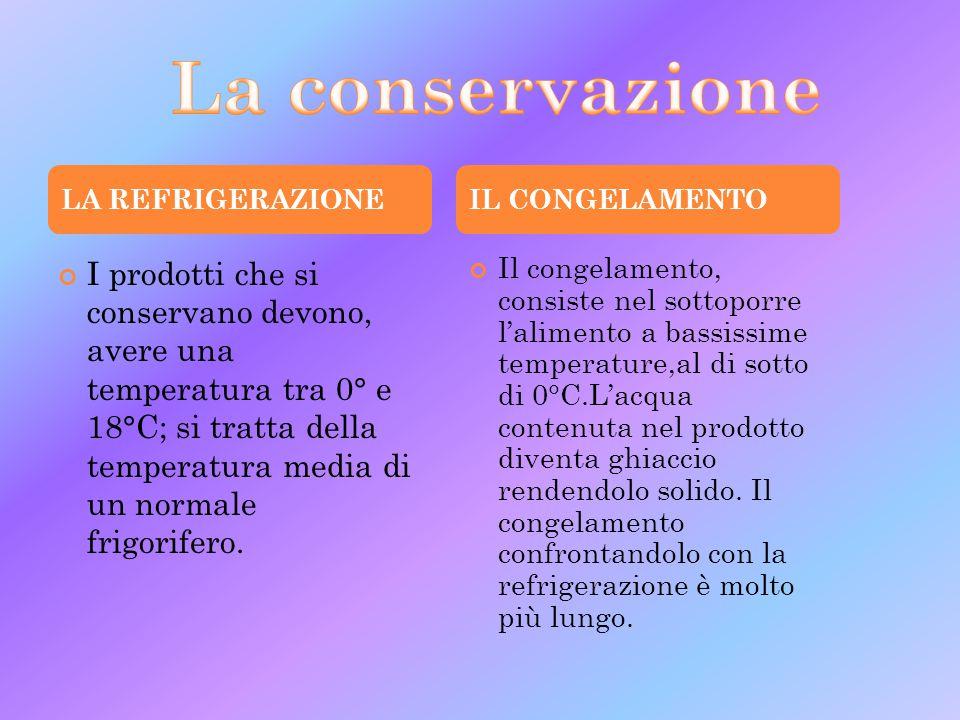 La conservazione LA REFRIGERAZIONE. IL CONGELAMENTO.