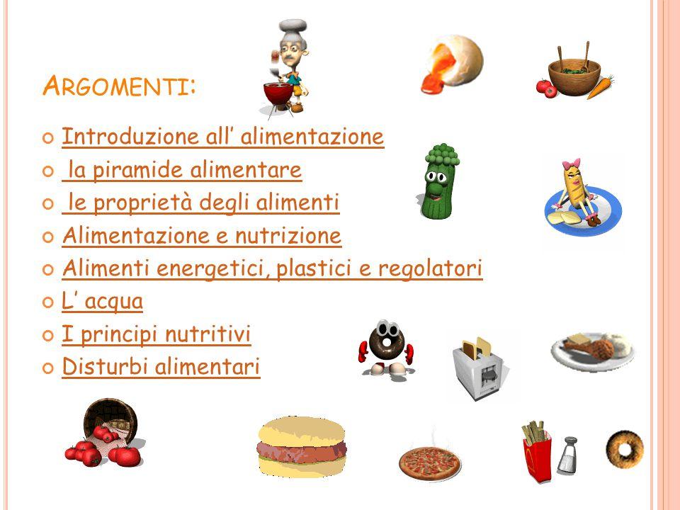 Argomenti: Introduzione all' alimentazione la piramide alimentare