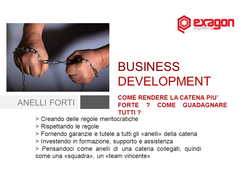 BUSINESS DEVELOPMENT ANELLI FORTI COME RENDERE LA CATENA PIU'