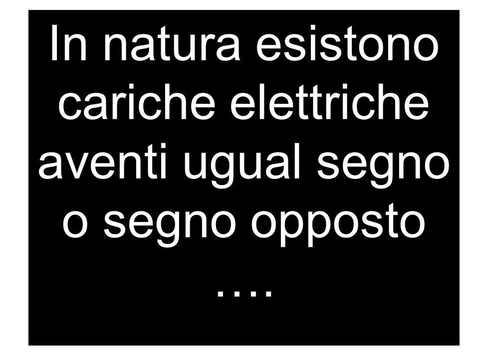 In natura esistono cariche elettriche aventi ugual segno o segno opposto ….