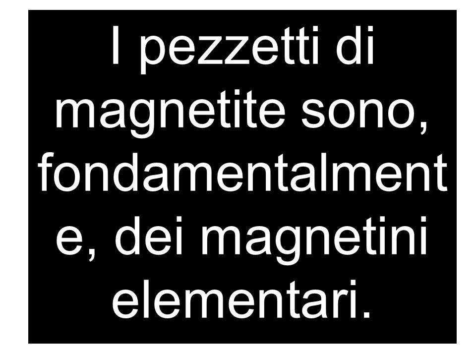 I pezzetti di magnetite sono, fondamentalmente, dei magnetini elementari.