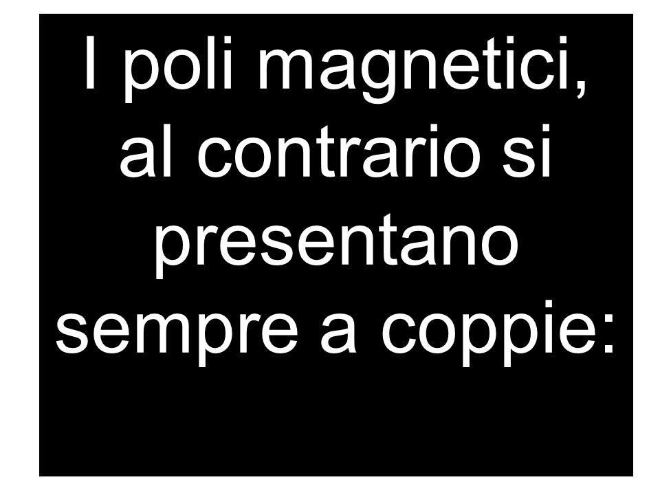 I poli magnetici, al contrario si presentano sempre a coppie: