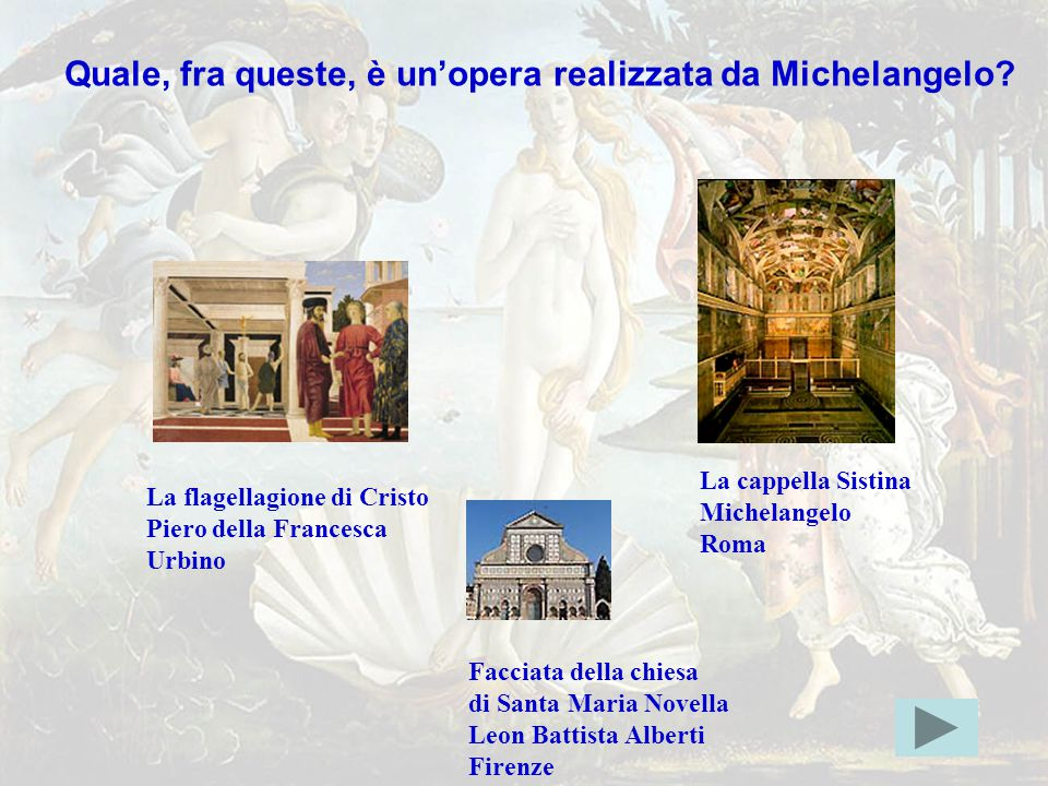 michelang5giusta Quale, fra queste, è un'opera realizzata da Michelangelo La cappella Sistina. Michelangelo.