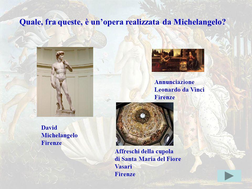 michel2giusta Quale, fra queste, è un'opera realizzata da Michelangelo Annunciazione. Leonardo da Vinci.