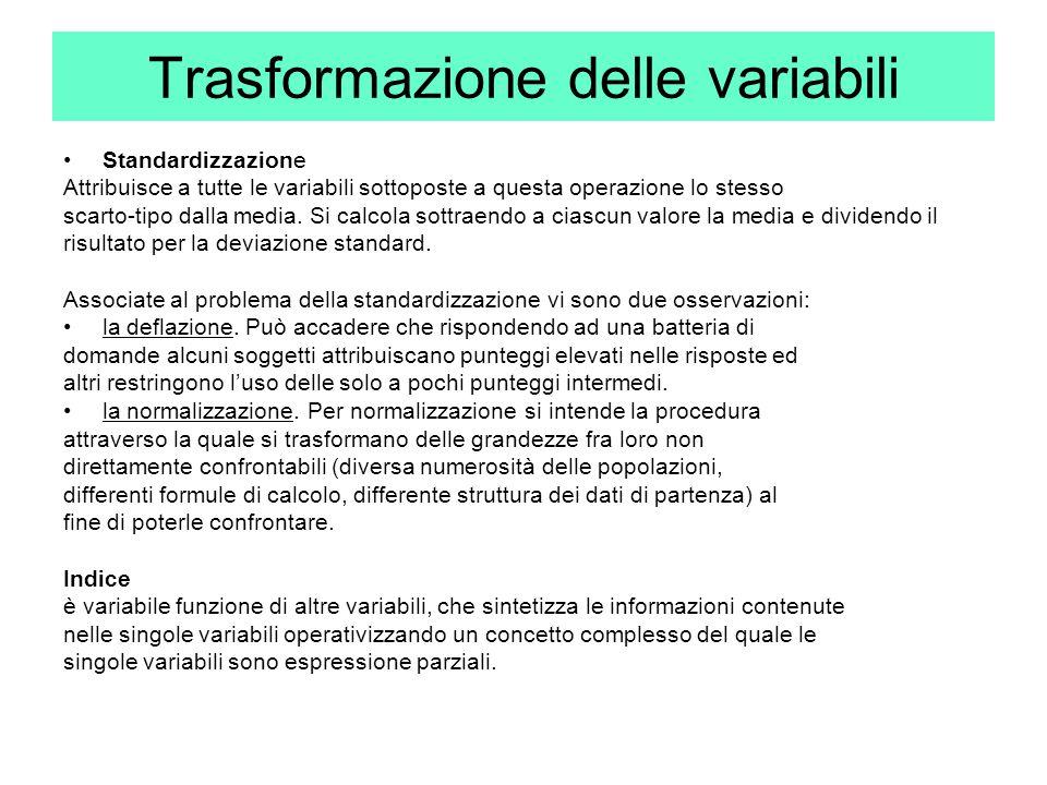 Trasformazione delle variabili