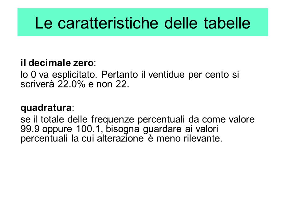 Le caratteristiche delle tabelle
