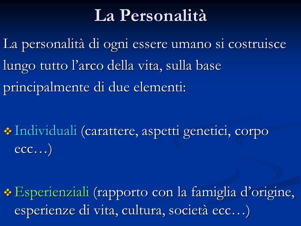 La Personalità La personalità di ogni essere umano si costruisce