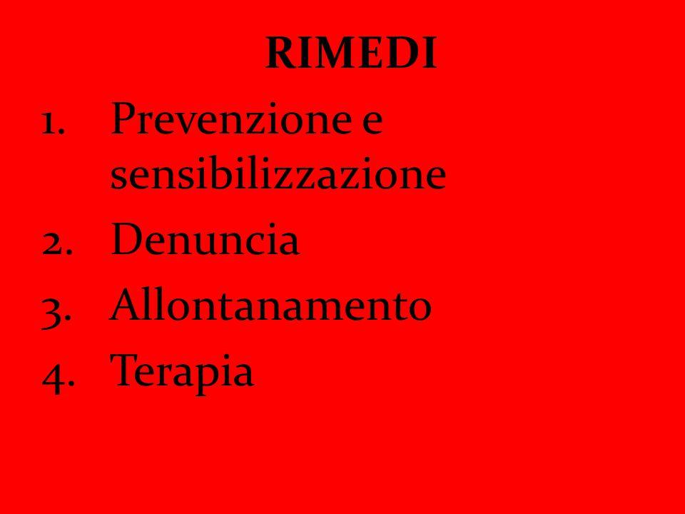 RIMEDI Prevenzione e sensibilizzazione Denuncia Allontanamento Terapia