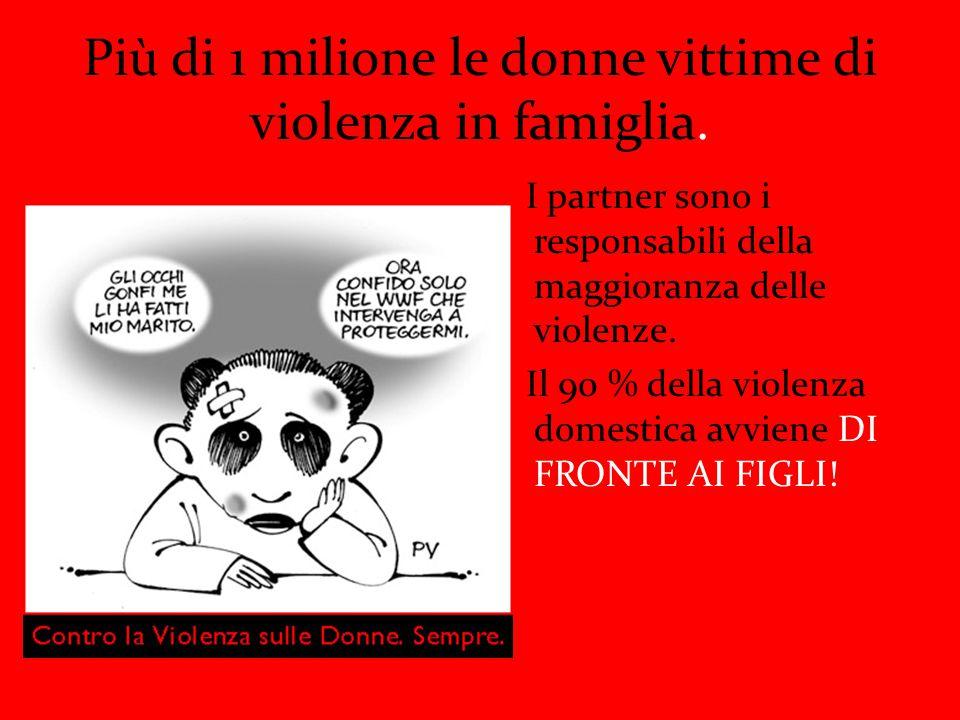 Più di 1 milione le donne vittime di violenza in famiglia.