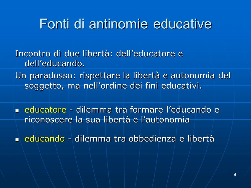 Fonti di antinomie educative