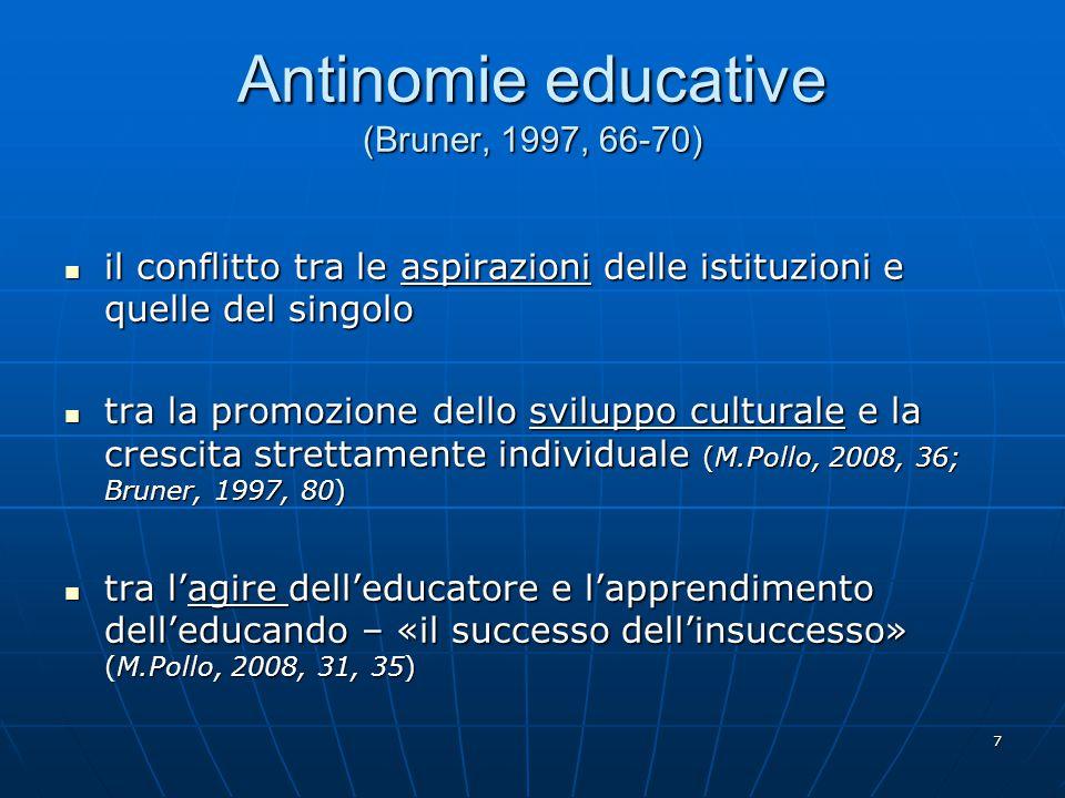 Antinomie educative (Bruner, 1997, 66-70)