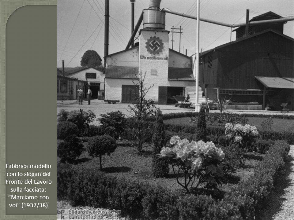 Fabbrica modello con lo slogan del Fronte del Lavoro sulla facciata: Marciamo con voi (1937/38)