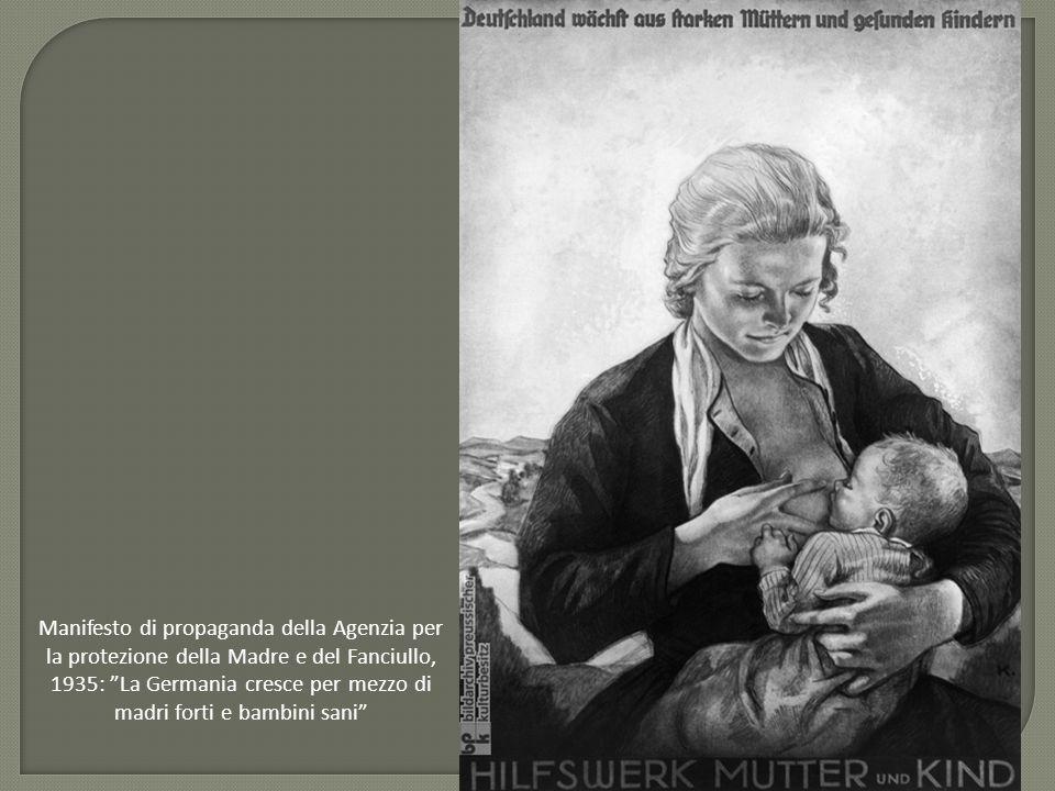 Manifesto di propaganda della Agenzia per la protezione della Madre e del Fanciullo, 1935: La Germania cresce per mezzo di madri forti e bambini sani