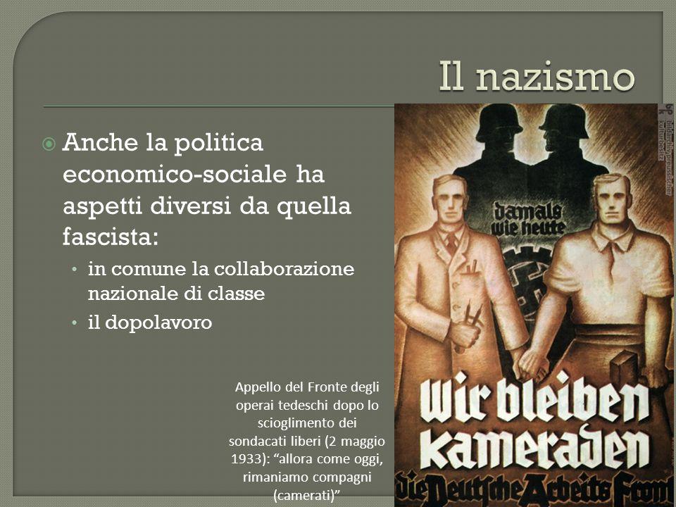 Il nazismo Anche la politica economico-sociale ha aspetti diversi da quella fascista: in comune la collaborazione nazionale di classe.