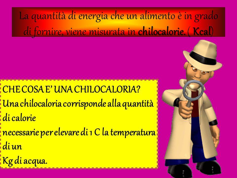 La quantità di energia che un alimento è in grado di fornire, viene misurata in chilocalorie. ( Kcal)