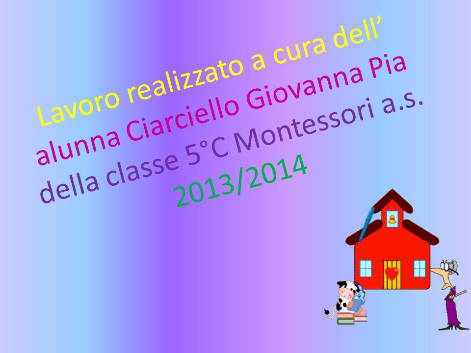 Lavoro realizzato a cura dell' alunna Ciarciello Giovanna Pia della classe 5°C Montessori a.s.