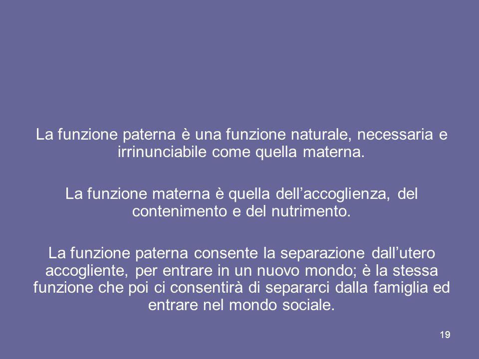 La funzione paterna è una funzione naturale, necessaria e irrinunciabile come quella materna.