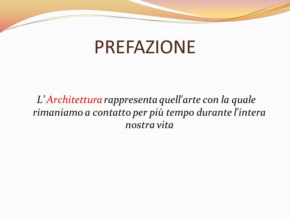 PREFAZIONE L' Architettura rappresenta quell arte con la quale rimaniamo a contatto per più tempo durante l intera nostra vita.