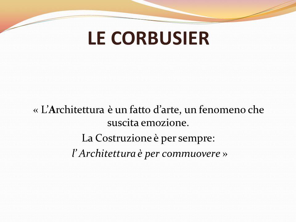 LE CORBUSIER « L'Architettura è un fatto d'arte, un fenomeno che suscita emozione.