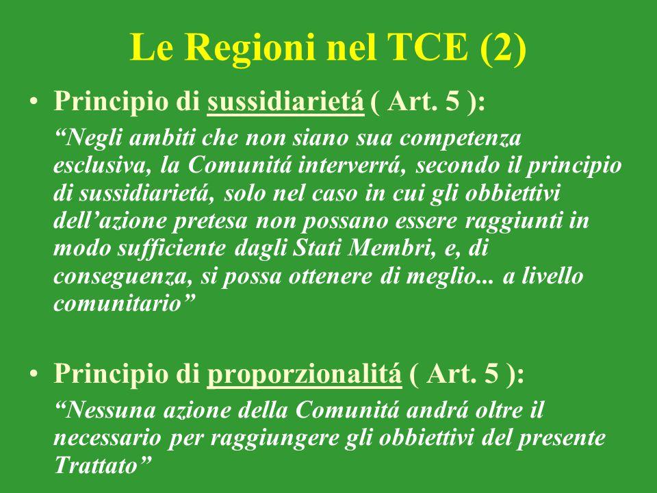 Le Regioni nel TCE (2) Principio di sussidiarietá ( Art. 5 ):