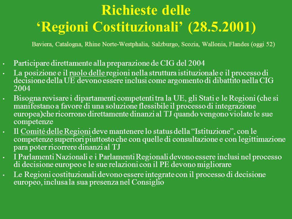 Richieste delle 'Regioni Costituzionali' (28.5.2001)