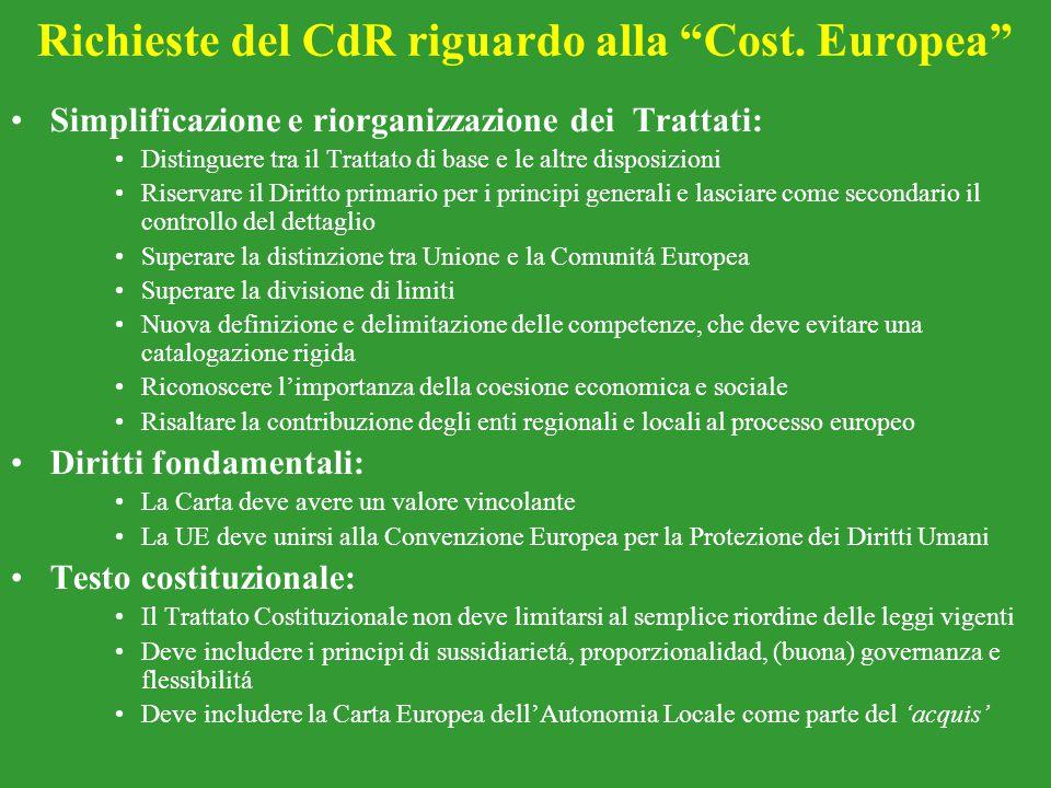 Richieste del CdR riguardo alla Cost. Europea