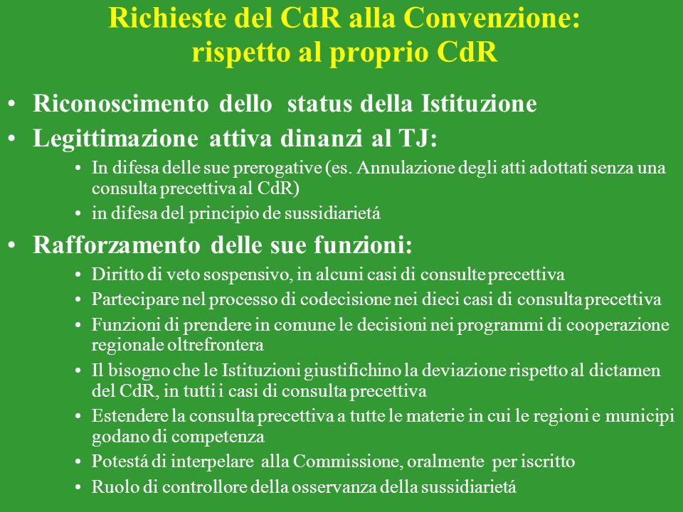 Richieste del CdR alla Convenzione: rispetto al proprio CdR