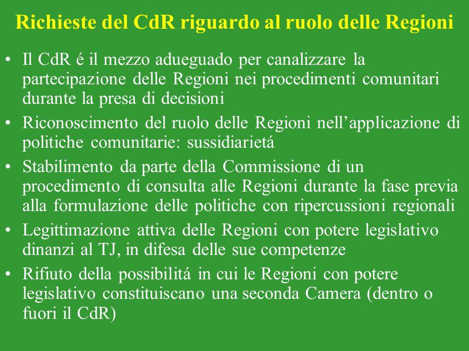 Richieste del CdR riguardo al ruolo delle Regioni