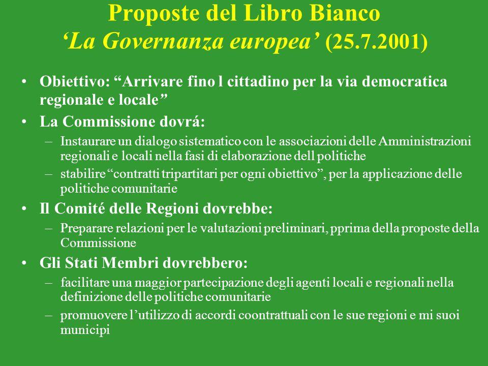 Proposte del Libro Bianco 'La Governanza europea' (25.7.2001)