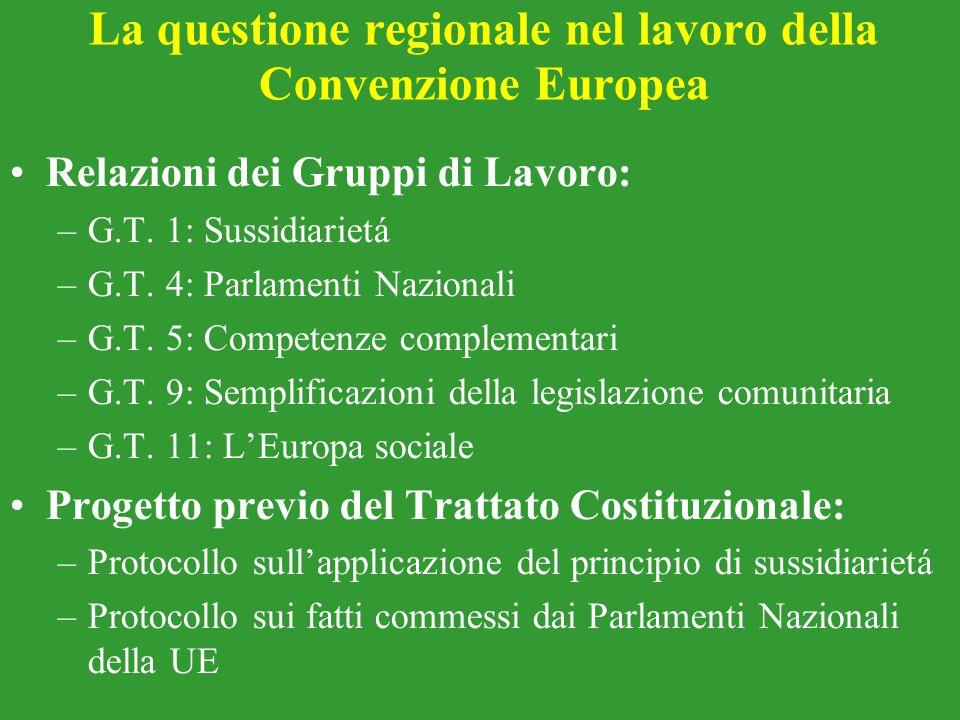La questione regionale nel lavoro della Convenzione Europea