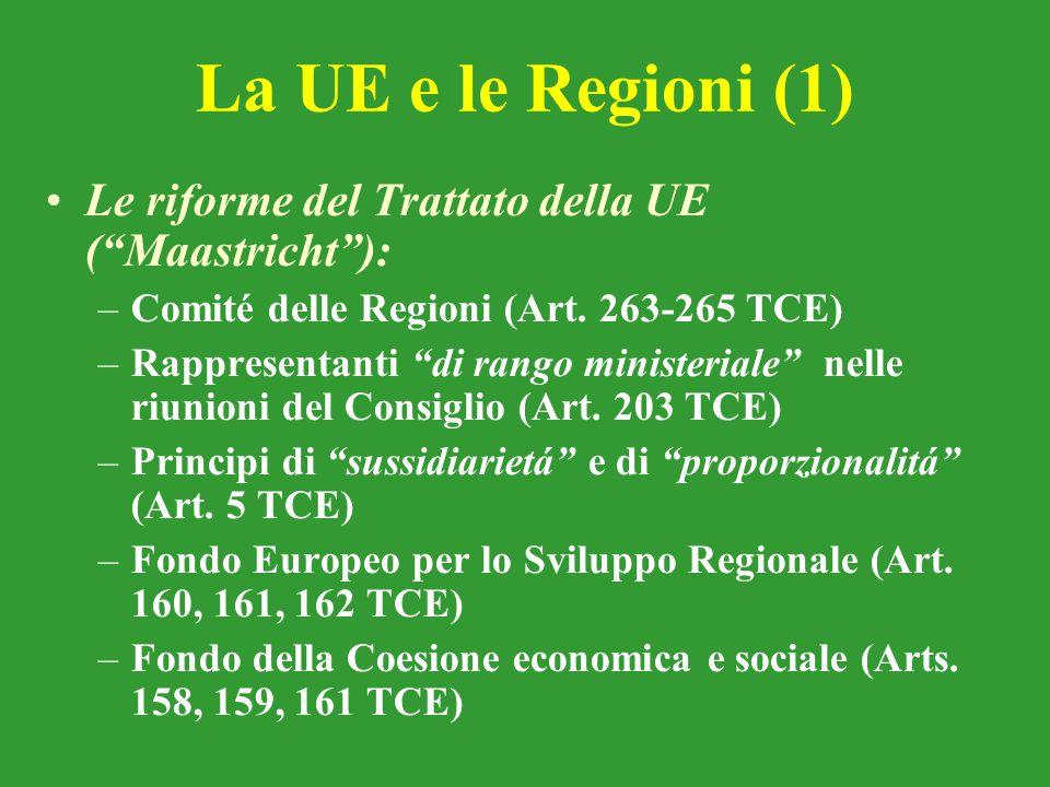 La UE e le Regioni (1) Le riforme del Trattato della UE ( Maastricht ): Comité delle Regioni (Art. 263-265 TCE)