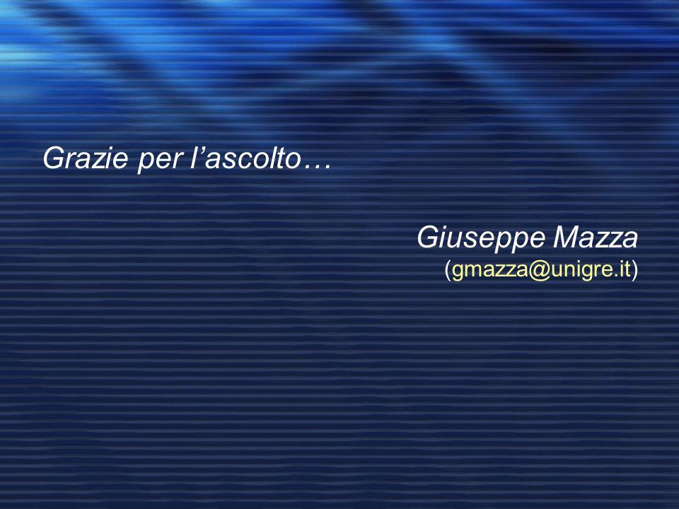 Grazie per l'ascolto… Giuseppe Mazza (gmazza@unigre.it)
