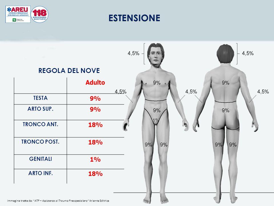 REGOLA DEL NOVE Adulto 9% 18% 1% TESTA ARTO SUP. TRONCO ANT.