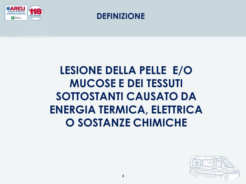DEFINIZIONE LESIONE DELLA PELLE E/O MUCOSE E DEI TESSUTI SOTTOSTANTI CAUSATO DA ENERGIA TERMICA, ELETTRICA O SOSTANZE CHIMICHE.