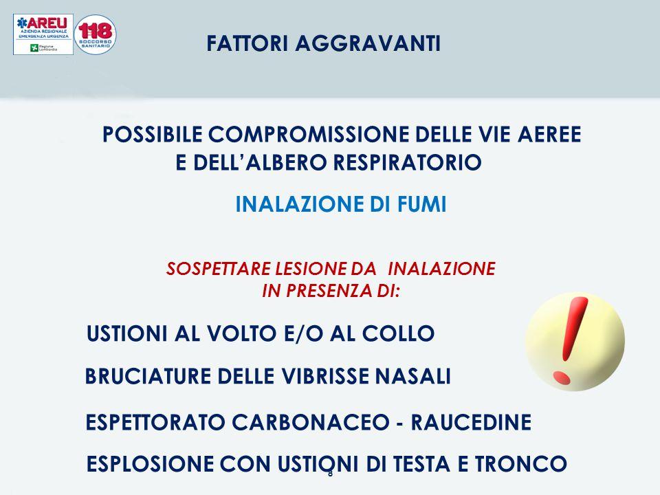 POSSIBILE COMPROMISSIONE DELLE VIE AEREE E DELL'ALBERO RESPIRATORIO