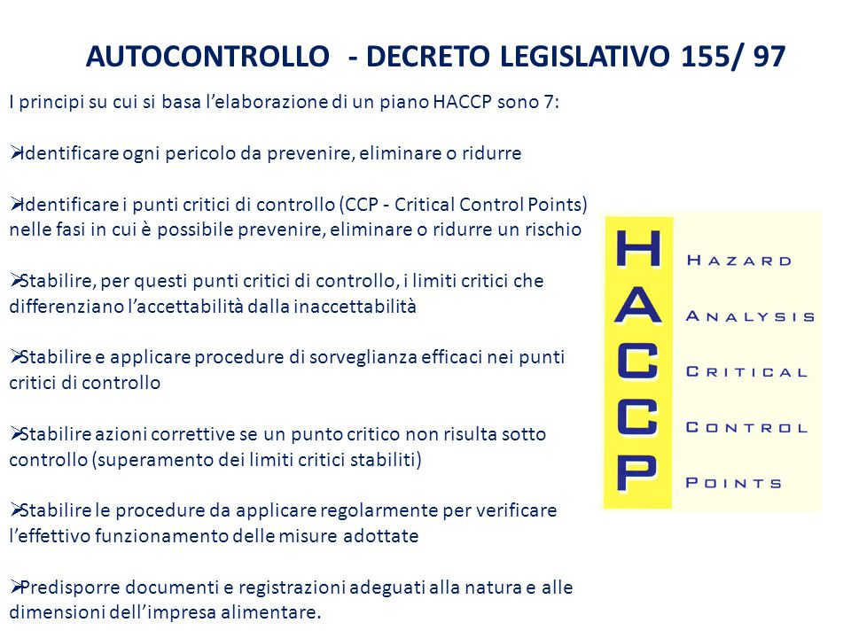 AUTOCONTROLLO - DECRETO LEGISLATIVO 155/ 97