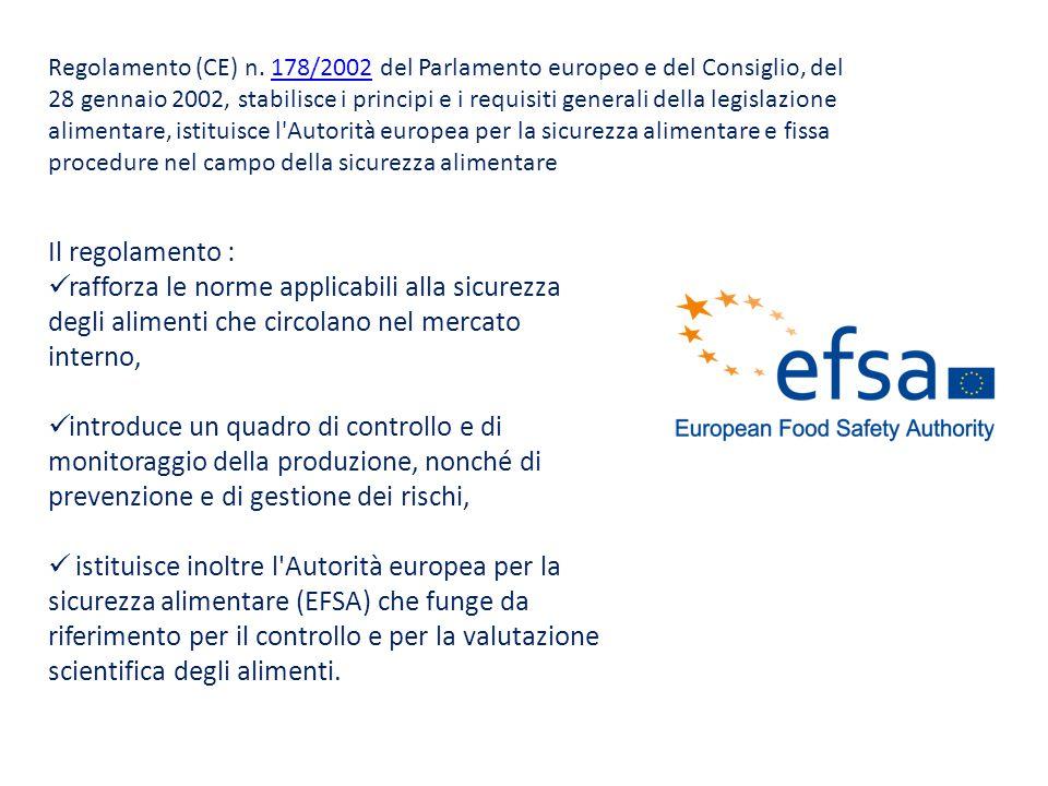 Regolamento (CE) n. 178/2002 del Parlamento europeo e del Consiglio, del 28 gennaio 2002, stabilisce i principi e i requisiti generali della legislazione alimentare, istituisce l Autorità europea per la sicurezza alimentare e fissa procedure nel campo della sicurezza alimentare
