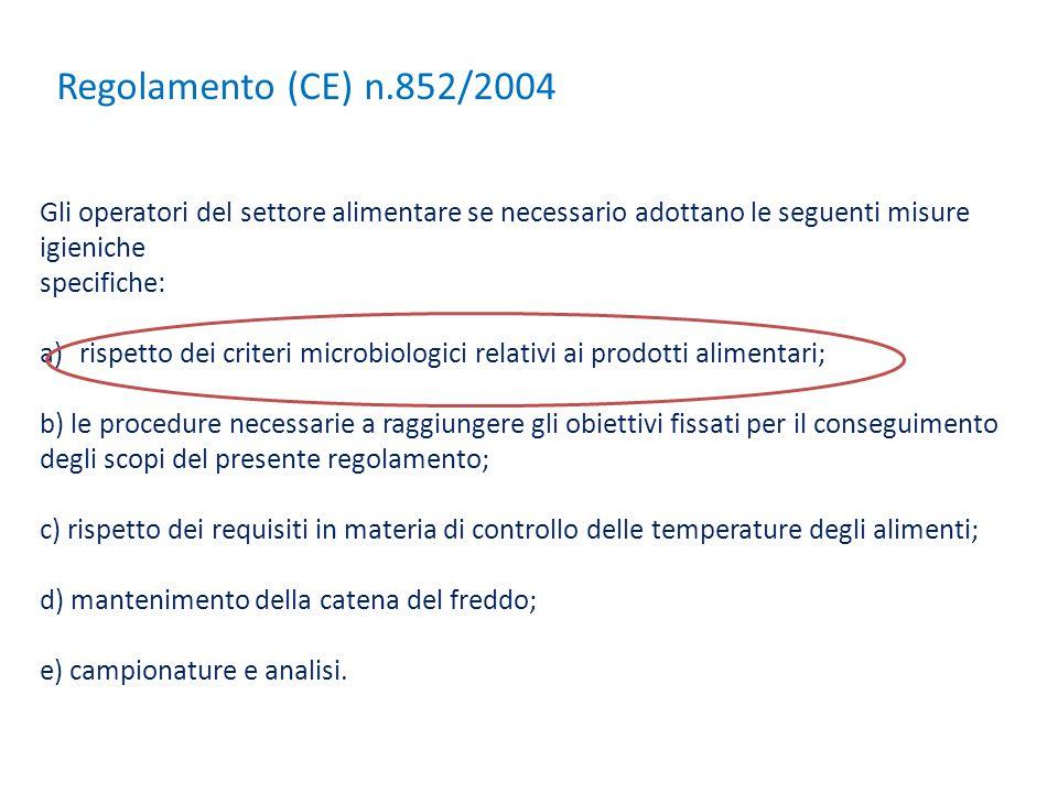 Regolamento (CE) n.852/2004 Gli operatori del settore alimentare se necessario adottano le seguenti misure igieniche.