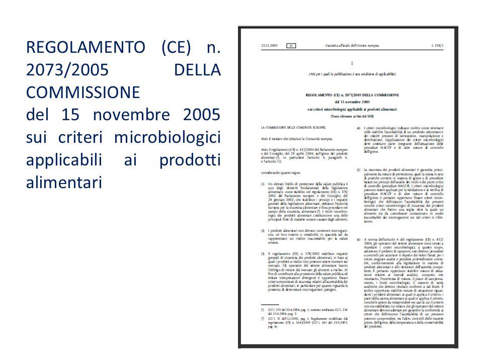 REGOLAMENTO (CE) n. 2073/2005 DELLA COMMISSIONE