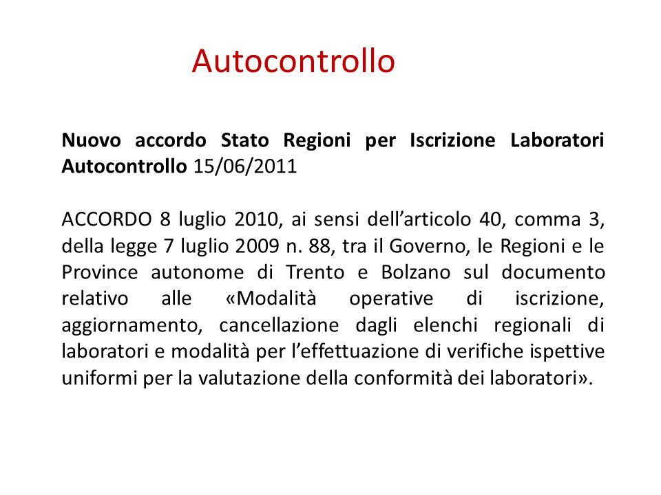 Autocontrollo Nuovo accordo Stato Regioni per Iscrizione Laboratori Autocontrollo 15/06/2011