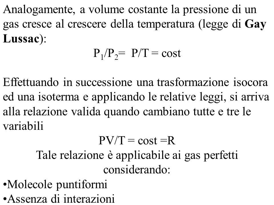 Tale relazione è applicabile ai gas perfetti considerando: