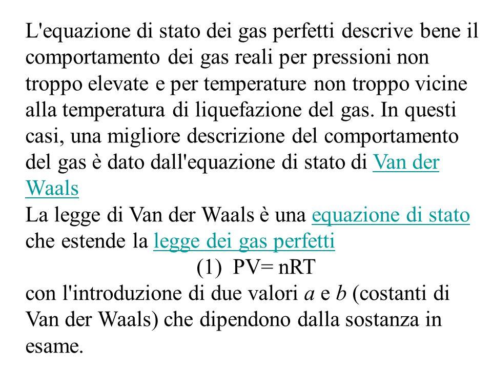 L equazione di stato dei gas perfetti descrive bene il comportamento dei gas reali per pressioni non troppo elevate e per temperature non troppo vicine alla temperatura di liquefazione del gas. In questi casi, una migliore descrizione del comportamento del gas è dato dall equazione di stato di Van der Waals