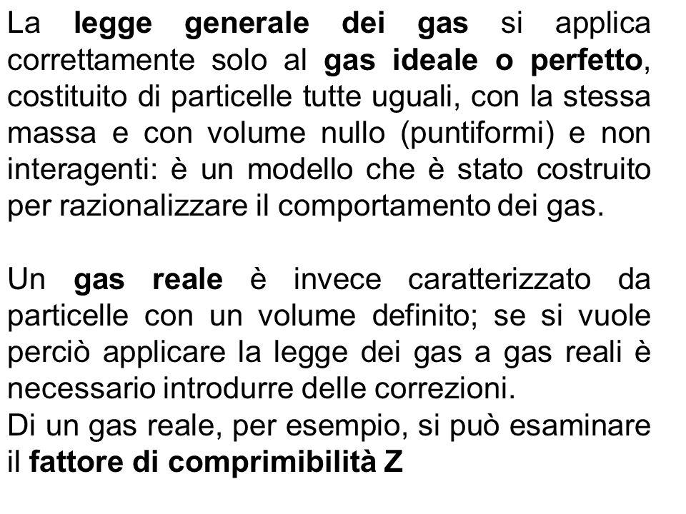 La legge generale dei gas si applica correttamente solo al gas ideale o perfetto, costituito di particelle tutte uguali, con la stessa massa e con volume nullo (puntiformi) e non interagenti: è un modello che è stato costruito per razionalizzare il comportamento dei gas.