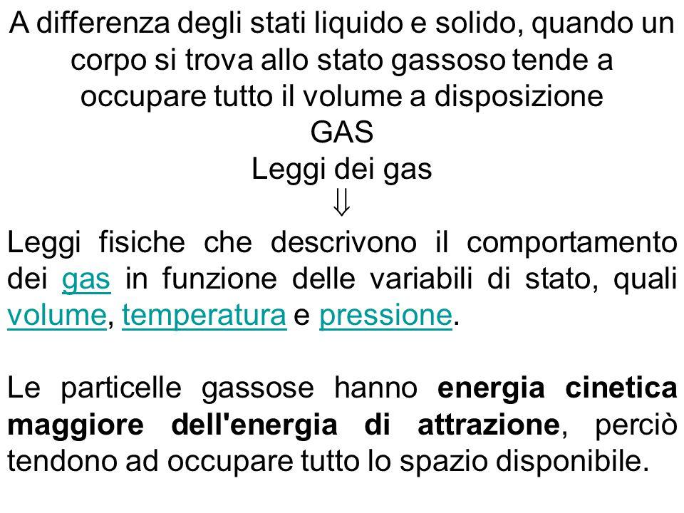 A differenza degli stati liquido e solido, quando un corpo si trova allo stato gassoso tende a occupare tutto il volume a disposizione
