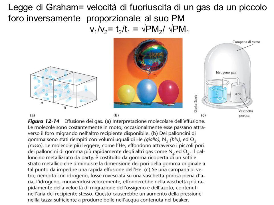 Legge di Graham= velocità di fuoriuscita di un gas da un piccolo foro inversamente proporzionale al suo PM